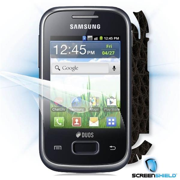 ScreenShield Samsung Galaxy Pocket Duos S5302 - Films on display and carbon skin (leather)