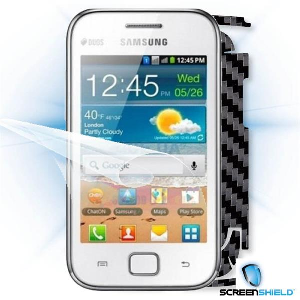 ScreenShield Samsung Galaxy Ace DUOS S6802 - Films on display and carbon skin (black)