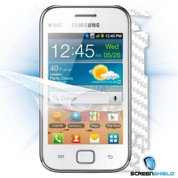 ScreenShield Samsung Galaxy Ace DUOS S6802 - Films on display and carbon skin (white)