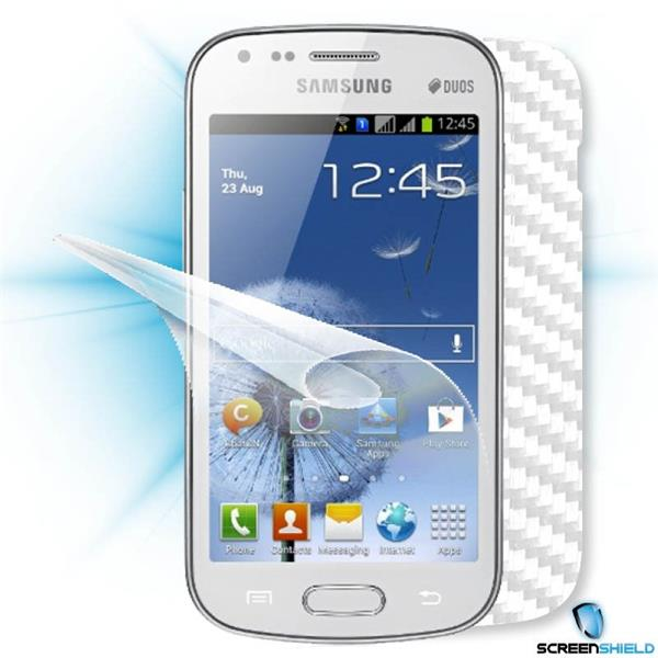 ScreenShield Samsung Galaxy S DUOS S7562 - Films on display and carbon skin (white)