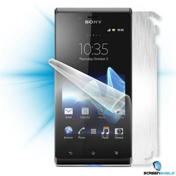 ScreenShield Sony Xperia J - Films on display and carbon skin (silver)