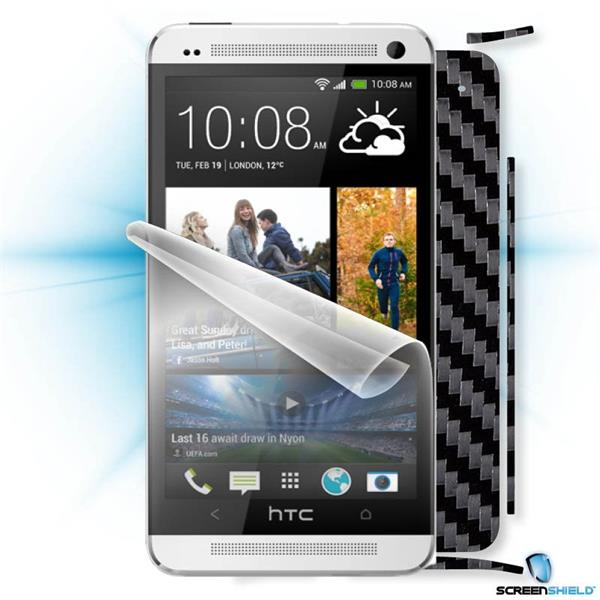 ScreenShield HTC ONE - Films on display and carbon skin (black)