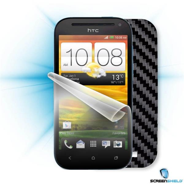 ScreenShield HTC ONE SV - Films on display and carbon skin (silver)