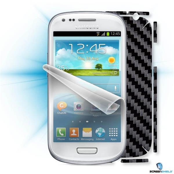 ScreenShield Samsung i9195 Galaxy Galaxy S4 mini - Films on display and carbon skin (black)