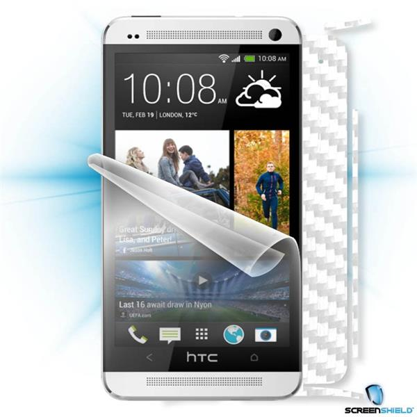 ScreenShield HTC ONE - Films on display and carbon skin (white)