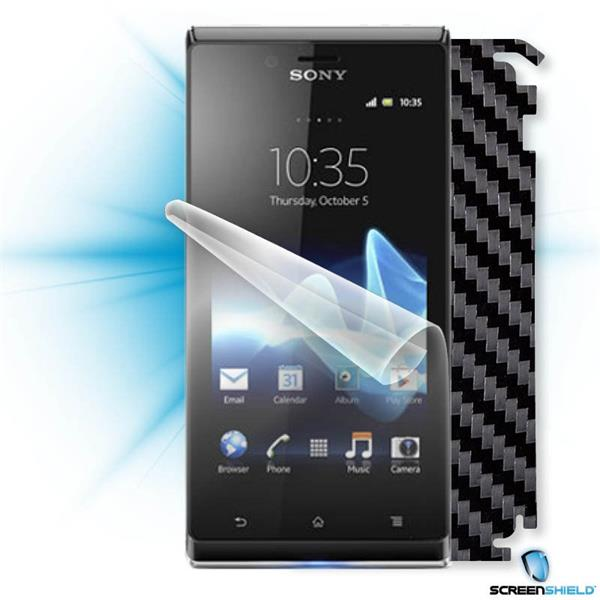 ScreenShield Sony Xperia J - Films on display and carbon skin (black)