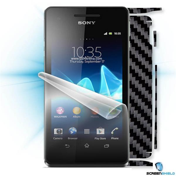 ScreenShield Sony Xperia V - Films on display and carbon skin (silver)