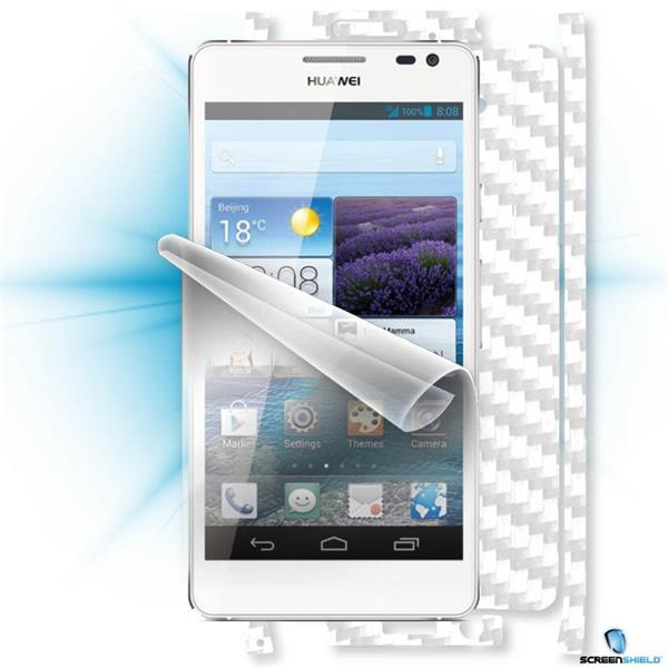 ScreenShield Huawei Ascend D2 - Films on display and carbon skin (white)