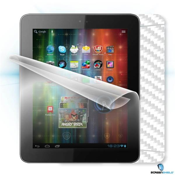 ScreenShield Prestigio MultiPad 2 8.0 Prime PMP5780D - Films on display and carbon skin (white)