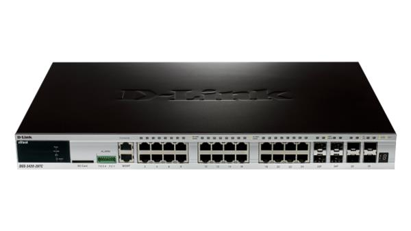 D-Link DGS-3420-28TC 24-port Gb L2+ switch, 4x combo, 4x 10Gb SFP+