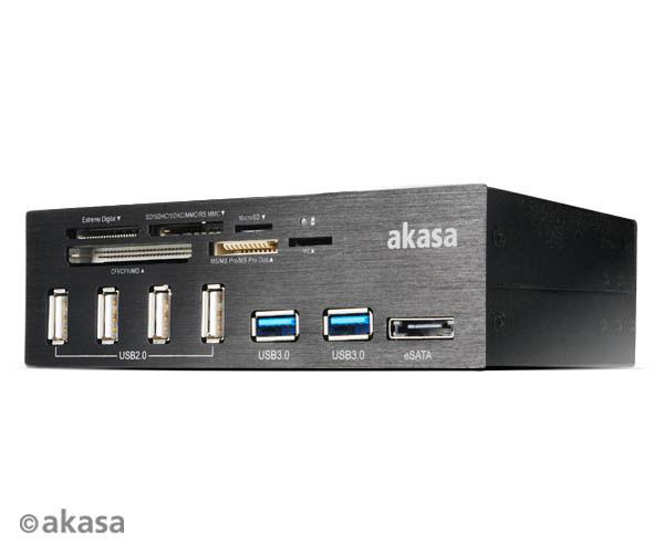 AKASA AK-HC-05BKV2 Interconnect PRO, Hliníkový panel s USB (4xUSB2, 2xUSB3.0), čítačka kariet a eSATA