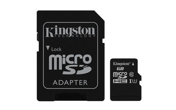 16 GB . microSDHC karta Kingston Class 10 UHS-I (r45MB/s, w10MB/s) + adaptér