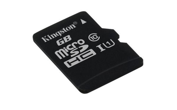 128 GB . microSDXC karta Kingston Class 10 UHS-I (r45MB/s, w10MB/s) bez adaptéra