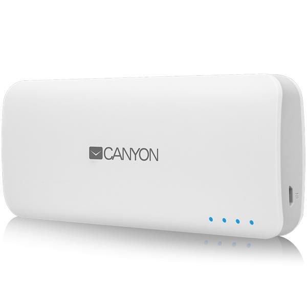 Canyon CNE-CPB100W Powerbank 10.000 mAh, dual USB 5V/1A/2A, pre smartfóny a tablety, biela