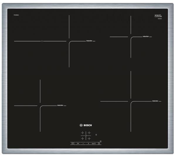 BOSCH_60cm, plošný rámik, 4x indukčná zóna, TouchSelect, 17 st.výk, powerBoost, timer, rozpozn hrnce