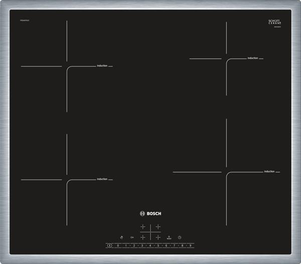 BOSCH_60cm, DirectSelect, 4x indukčná zóna, 17st.výk., powerBoost, timer, rozpoz hrnce, ReStart, QuickStart