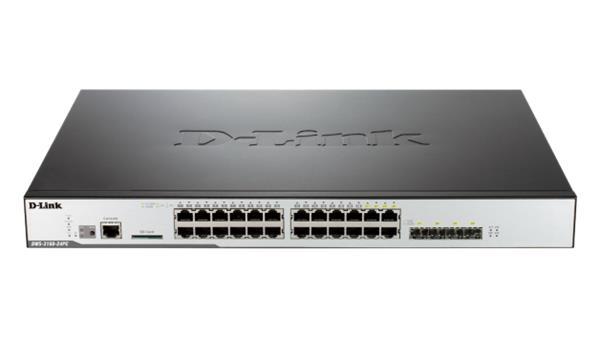 D-Link DWS-3160-24PC 24-port GB L2+ Wireless Switch, 4x combo, 1x SD, 48 AP, PoE