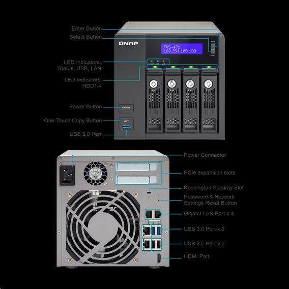 QNAP™ TVS-663-4G 6bay 4GB 4LAN 10G-ready, AMD® 2.4GHz quad-core