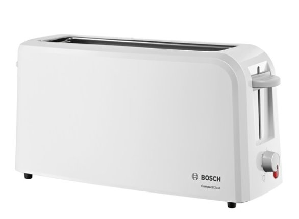 BOSCH_980 W, dlhá štrbina, nadstavec na žemle,automat.centrovanie,plynulá regulácia,zásuvka na omrvinky,biely