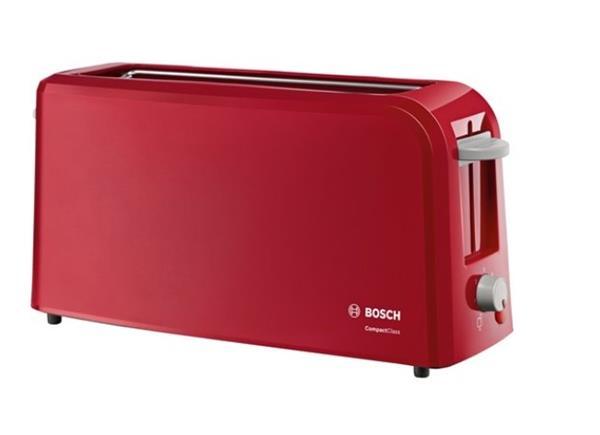 BOSCH_980 W, dlhá štrbina, nadstavec na žemle, automat. centrovanie, plynulá regulácia, červený