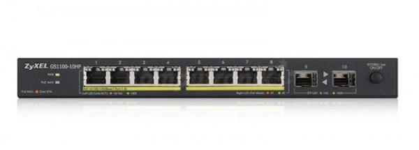 ZyXEL GS1100-10HP 10-port Desktop Gigabit Ethernet switch: 8x Gigabit metal + 2x SFP, 802.3az (Green), PoE 802.3at(High