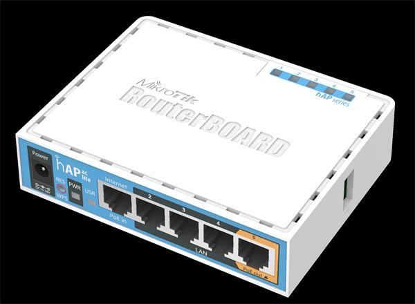 MIKROTIK RouterBOARD hAP AC lite + L4 (650MHz, 64MB RAM, 5xLAN switch, 1x 2,4+5GHz, plastic case, zdroj)