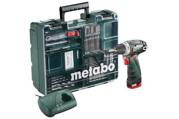 Metabo PowerMaxx BS Set Mobilná dielňa, 10,8-Voltová Akumulátorová vŕtačka so skrutkovačom