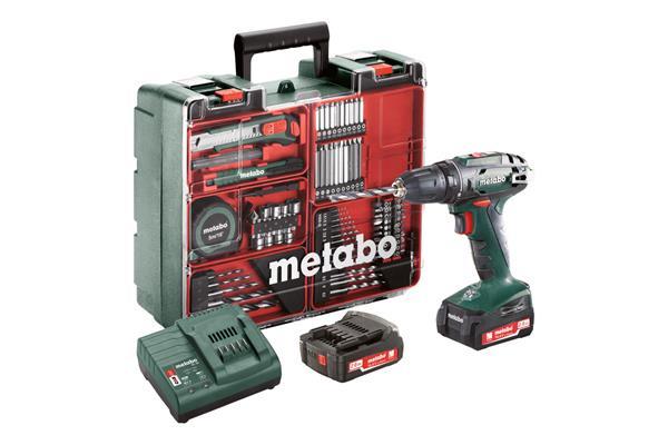 Metabo BS 14.4 Set Mobilná dielňa, 14,4-Voltová Akumulátorová vŕtačka so skrutkovačom