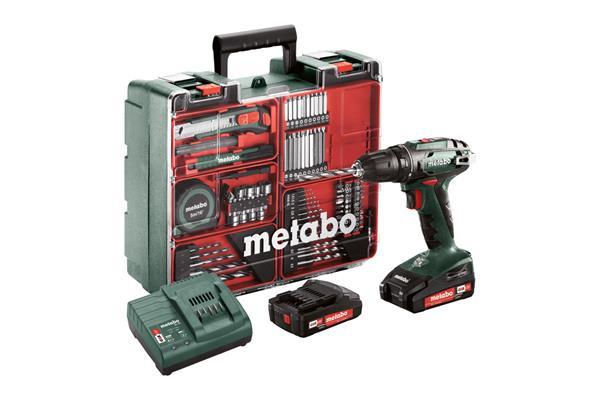 Metabo BS 18 Set Mobilná dielňa, 18-Voltová Aku-vŕtačka so skrutkovačom + príslušenstvo