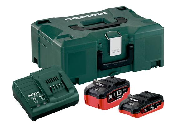 Metabo Basis Set akumulátory 1 x LiHD 3,1 Ah , 1 x LiHD 5,5 Ah, nabíjačka ASC 30-36, kufrík Metaloc