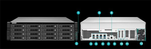 QNAP™ TVS-EC1680U-SAS-RP-8GE-EU 6 Bay NAS, Intel Xeon E3- 3.5Ghz 8GB DDR3L RAM,4x Giga LAN