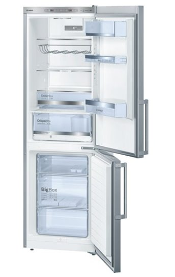 BOSCH_Chladnicka A+++, 149 kWh/rok, 304 l (215l/89l), LED-displej, 2 chladiace okruhy, LowFrost, InoxLook