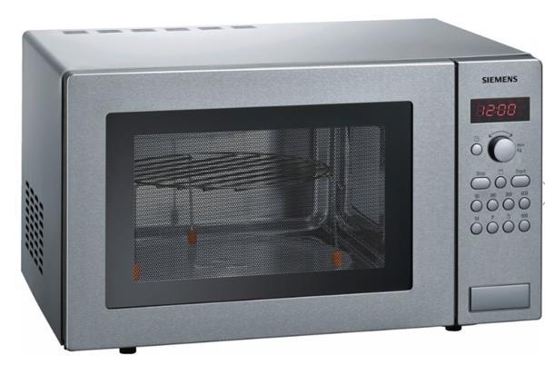 SIEMENS_900W mikrovlny, gril (1200 W), objem 25l, otočný tanier - priemer 31,5, váhová automatika, nerez
