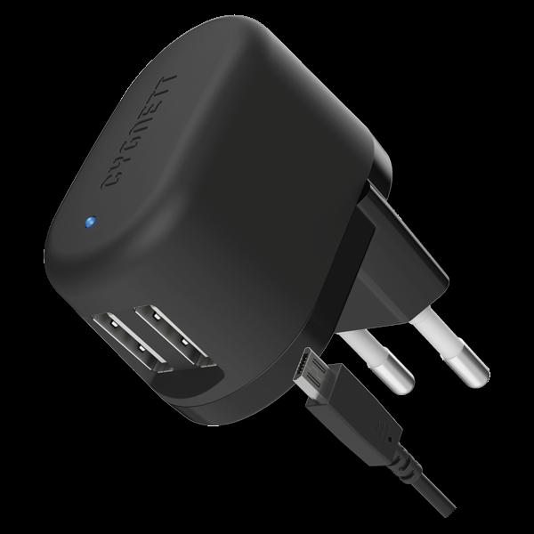 Cygnett Flow Dual, prémiová nabíjačka do steny 2x USB, 5V/2.4A, 1x odpojiteľný kábel USB/micro USB, čierna