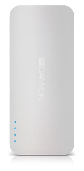 Canyon CNE-CPB130W externá batéria s nabíjačkou 13.000 mAh, dual USB 5V/2A, pre smartfóny a tablety, biela