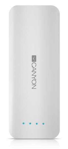Canyon CNE-CPB156W externá batéria s nabíjačkou 15.600 mAh, dual USB 5V/2A, pre smartfóny a tablety, biela