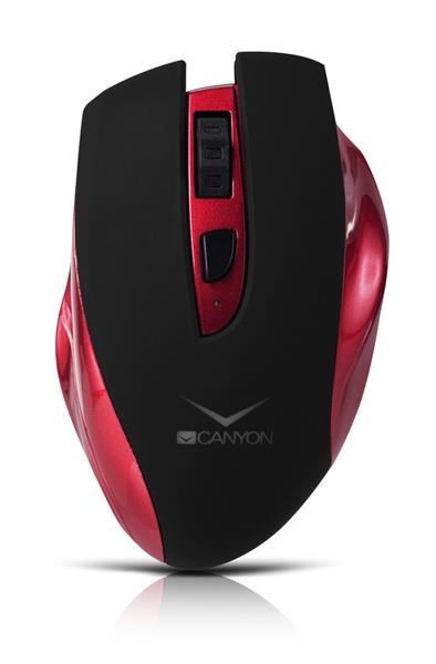 Canyon CNS-CMSW7R, Wireless optická myš USB, nabíjateľná, 800/1200/1600 dpi, červeno-čierna