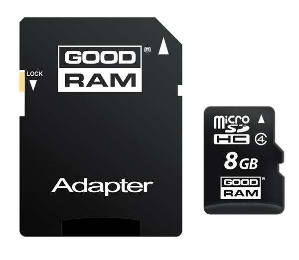 8 GB . microSDHC karta GOODRAM Class 4 + adaptér