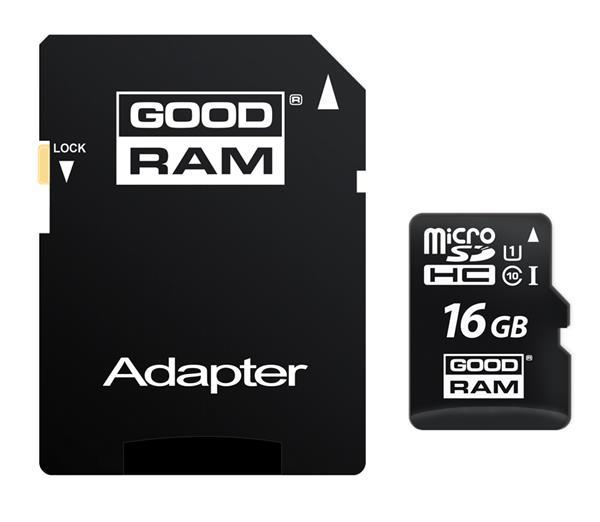 16 GB . microSDHC karta GOODRAM Class 10 UHS I + adapter