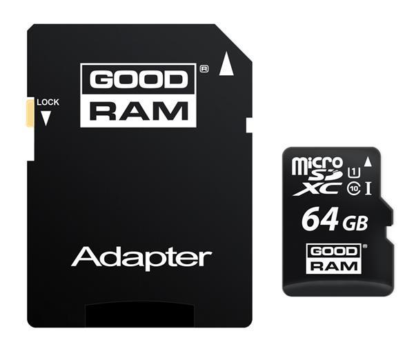 64 GB . microSDHC karta GOODRAM Class 10 UHS I + adapter