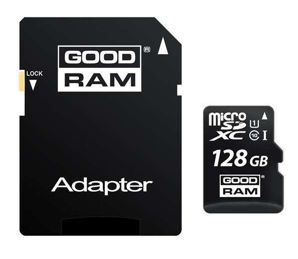 128 GB . microSDHC karta GOODRAM Class 10 UHS I + adapter