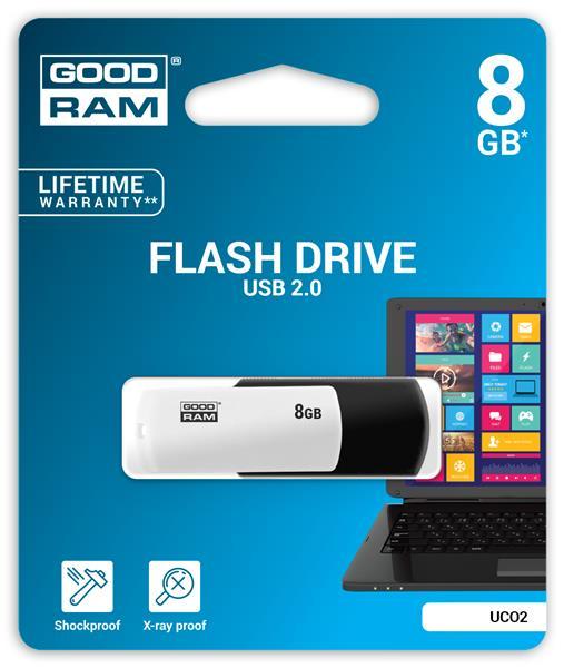 8 GB . USB kľúč . GOODDRIVE COLOUR Čierno-biela