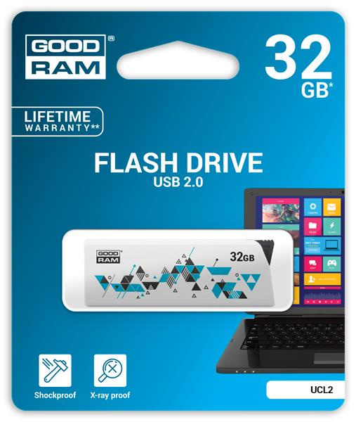 32 GB . USB kľúč . GOODDRIVE CL!CK, biely