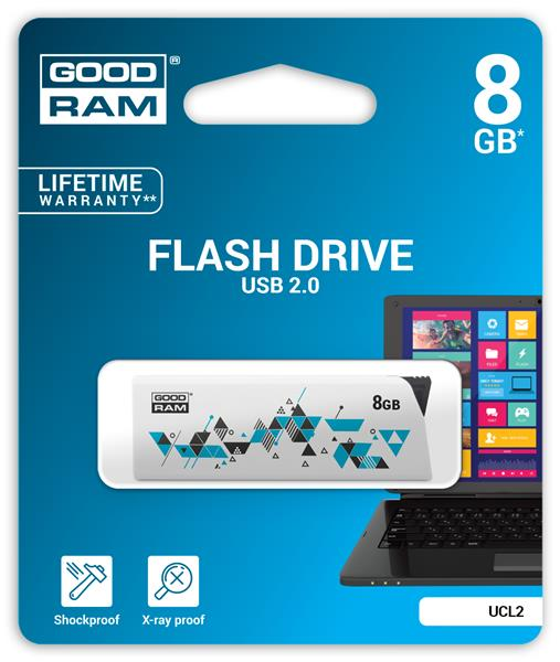8 GB . USB kľúč . GOODDRIVE CL!CK, biely