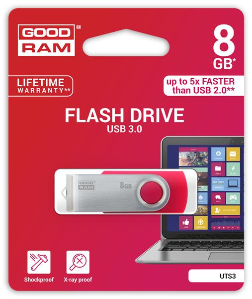 8 GB . USB 3.0 kľúč . GOODDRIVE Twister Červený