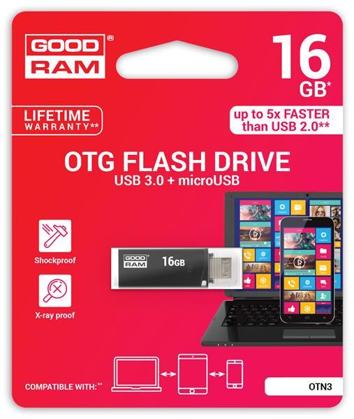 16 GB . USB 3.0 kľúč . GOODDRIVE TWIN Čierna
