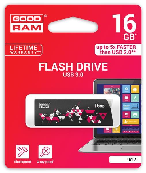 16 GB . USB 3.0 kľúč . GOODDRIVE CLICK Čierna
