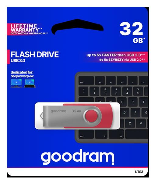 32 GB . USB 3.0 kľúč . GOODDRIVE Twister červená
