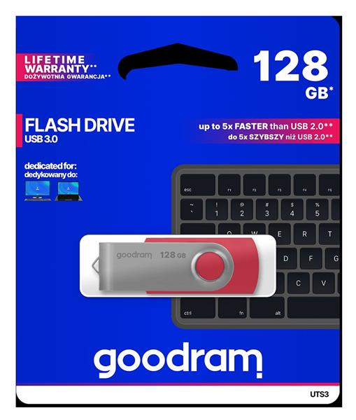 128 GB . USB 3.0 kľúč . GOODDRIVE Twister červená