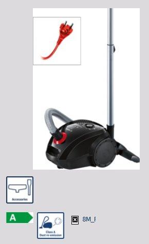 BOSCH_700W, ProPower, energetická trieda A, trieda účinnosti: koberce D, tvrdé podlahy D, prachové emisie A, ProPower
